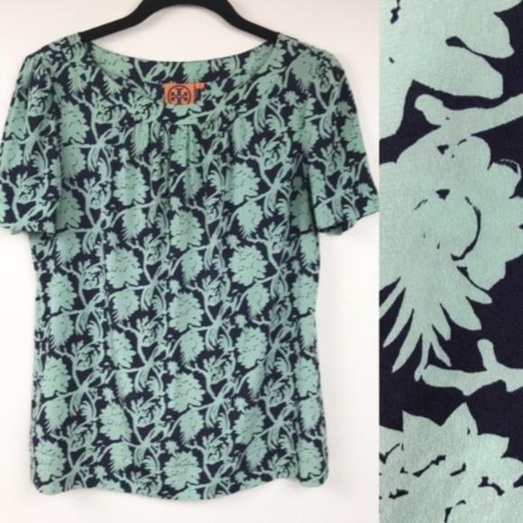 Tory Burch Tops - Tory Burch Silk Blouse Floral Silk Stretch Top